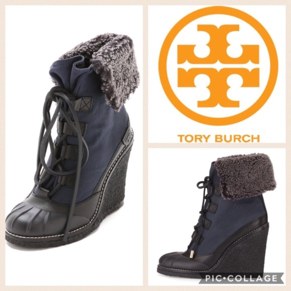 9f04ab5b639 Tory Burch Fairfax Furlined Wedge Booties